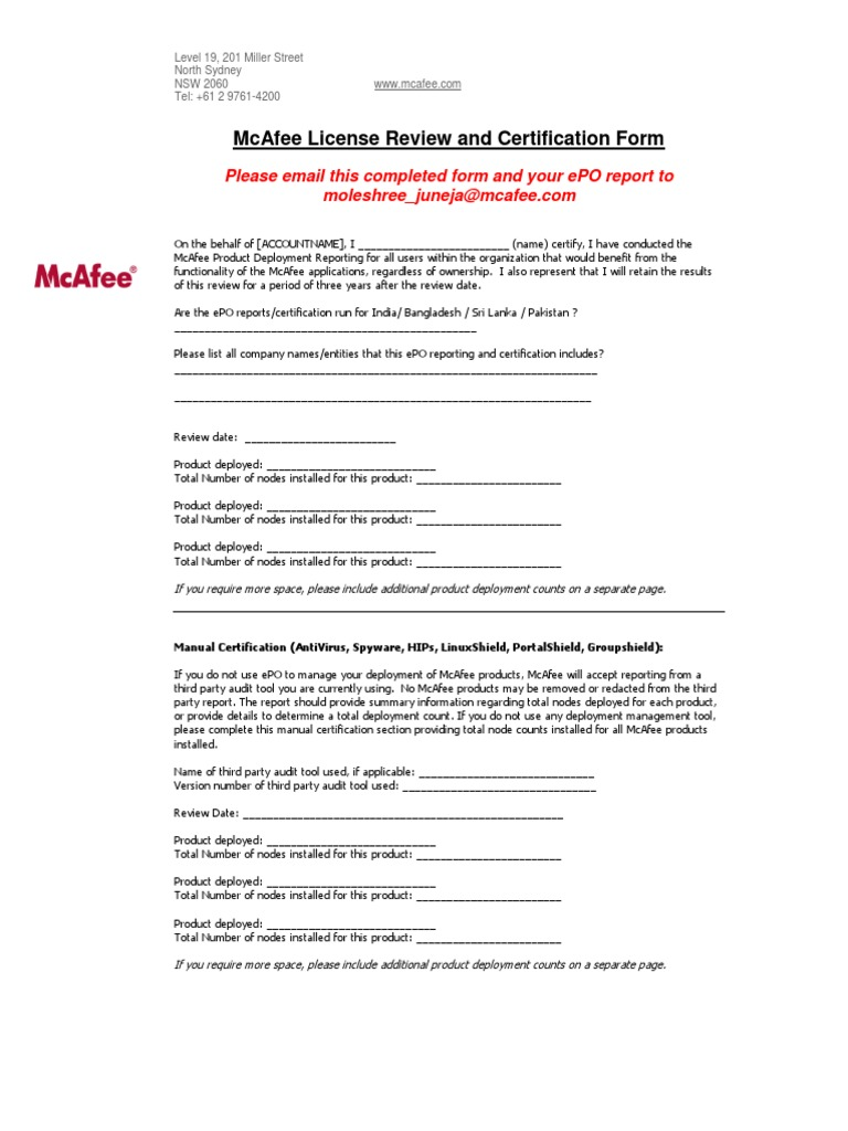 McAfee License Review and Certification Form India   Areas