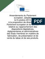 Amendements du Parlement européen concernant les produits liés au tabac le 8 octobre 2013