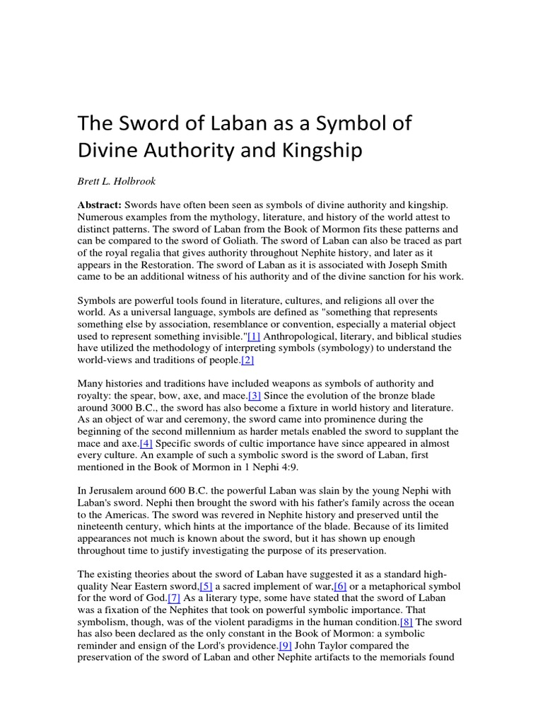 The Sword Of Laban As A Symbol Of Divine Authority And Kingship1