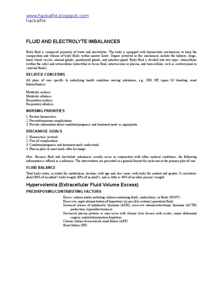 Nursing Care Plan For Fluid And Electrolyte Imbalances