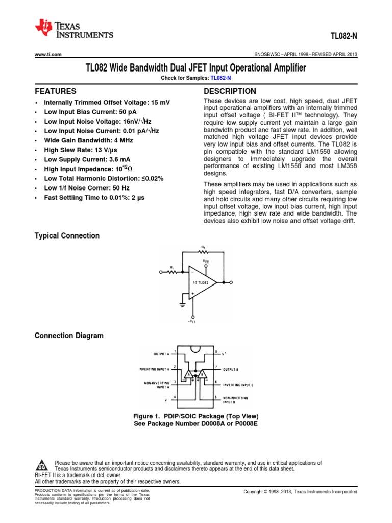 tl082 op amp datasheet | Amplifier | Operational Amplifier