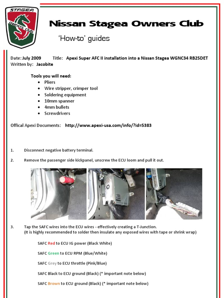 How To Guide Apexi Super Afc Ii Installation Into A Nissan Stagea Safc 2 Wiring Diagram Wgnc34 Rb25det Automotive Technologies Manufactured Goods