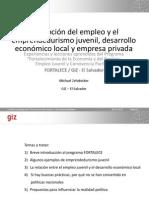 PROMOCIÓN DEL EMPLEO Y EL EMPRENDEDURISMO JUVENIL, DESARROLLO ECONÍMICO LOCAL Y EMPRESA PRIVADA EN EL SALVADOR CENTRO AMÉRICA