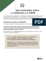 Acordos da Prefeitura da Cidade do Rio de Janeiro com o Sepe
