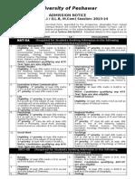 Admission in Postgraduate Program 2013-14