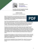 Testimony Re School Governance 10.8.13