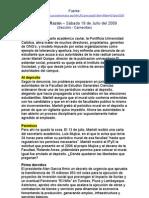 La Razón - Censura en la PUCP (18 Julio 2009)