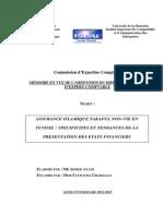 Mémoire Assurance islamique Takaful en Tunisie