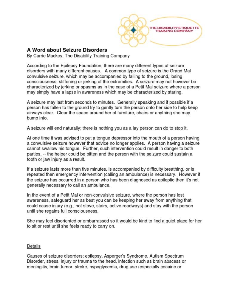 AWordAboutSeizureDisorders[1] | Epilepsy | Neurological Disorders
