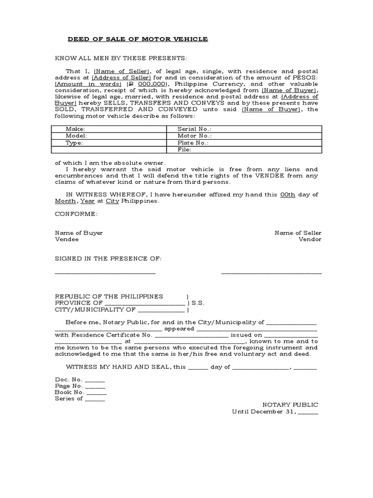 Bill Of Sale Form Nc >> Deed of Sale of Motor Vehicle - Template