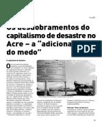 """Os desdobramentos do capitalismo de desastre no Acre – a """"adicionalidade do medo"""""""