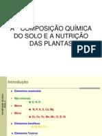 A Quimica Do Solo e a Nutricao Das Plantas