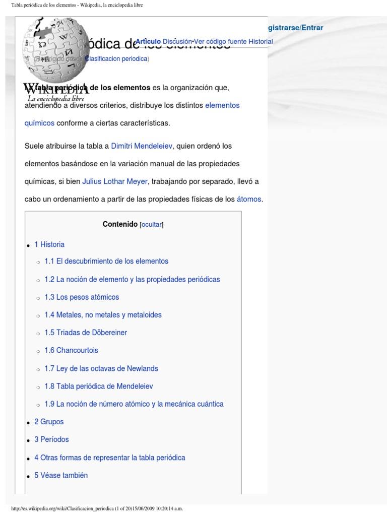 tabla peridica de los elementos wikipedia la enciclopedia libre - Organizacion De La Tabla Periodica Moderna Wikipedia