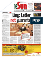 thesun 2009-07-16 page01 ling letter not guarantee
