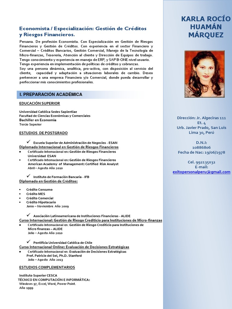 Currículum Vitae Karla Rocío Huamán Márquez