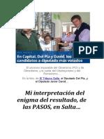 Mi interpretación del enigma del resultado, de las PASOS, en Salta…