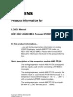 LOGO! Analog Input PT100 Manual