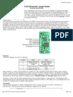 SRF10 Ultrasonic Range Finder