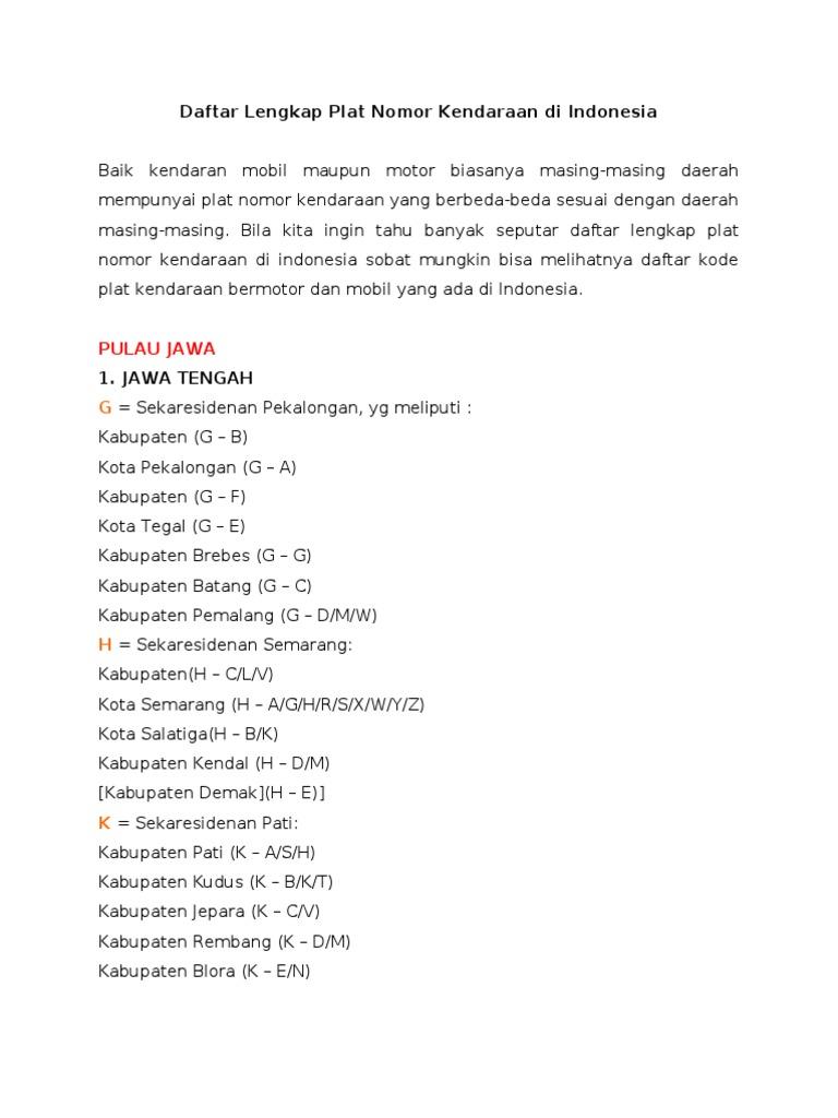 Daftar Lengkap Plat Nomor Kendaraan Pdf