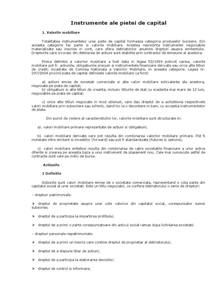 Sectiunea obligatiuni - platforma Startrade