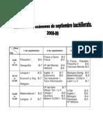 Calendario de Examenes extraordinarios Septiembre 2009