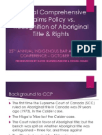 Comprehensive Claims Policy vs. Aboriginal Title & Rights Oct 9 13