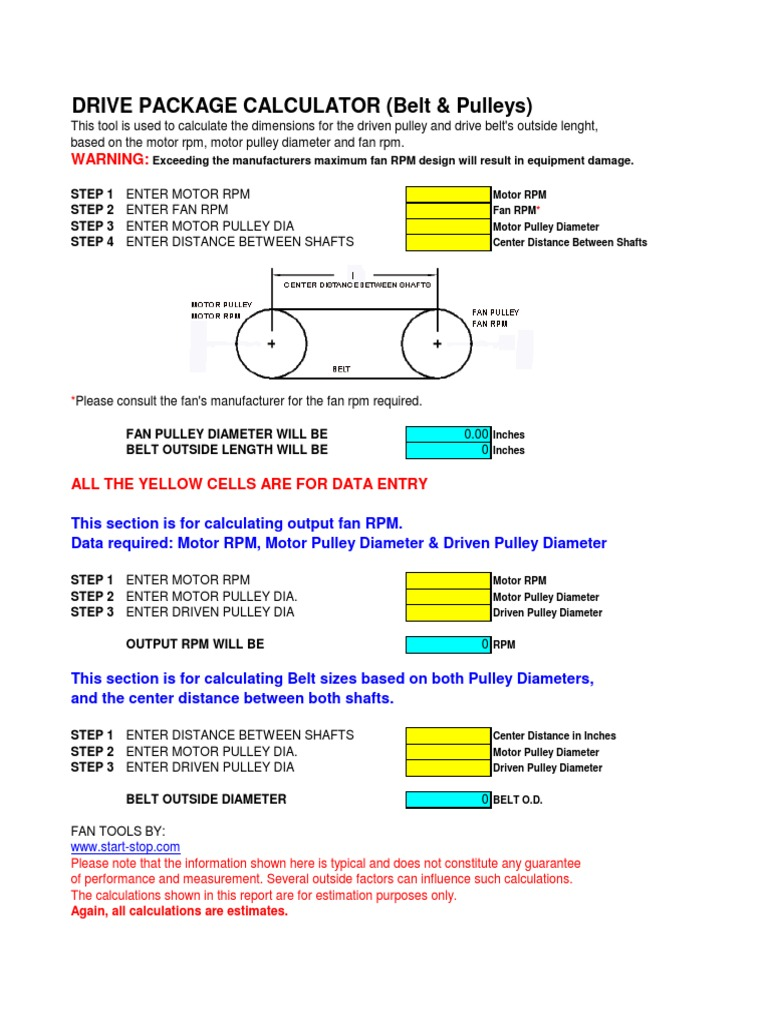 Belt & Pulley Calculator xls