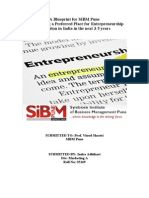A Blueprint for SIBM Pune for Becoming a Preferred Place for Entrepreneurship Education in India in the Next 3