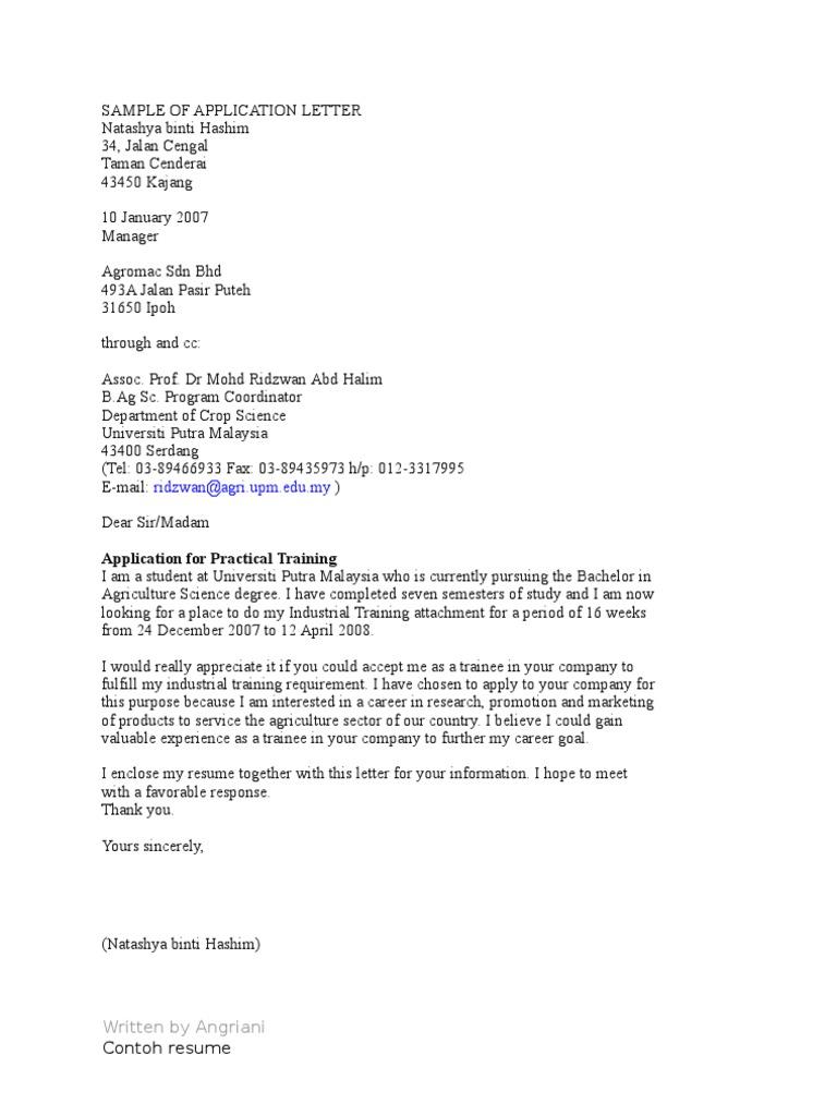 Sample of application letter altavistaventures Choice Image