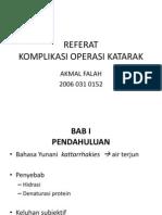Referat Komplikasi Operasi Katarak