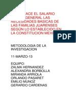¿SATISFACE EL SALARIO MINIMO GENERAL LAS NECESIDADES BASICAS DE LAS FAMILIAS JUARENSES SEGÚN LO ESTABLECIDO EN LA CONSTITUCION MEXICANA