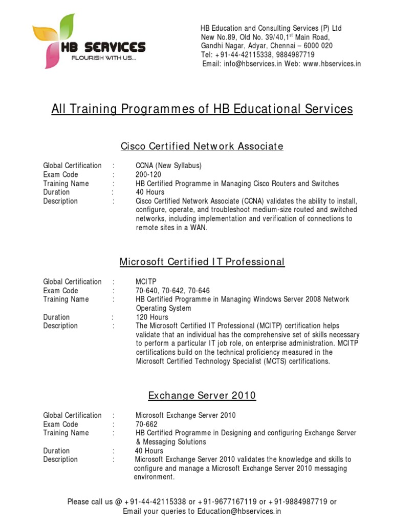 Itil certification exam code choice image any certificate example all training programmes of hb educational services cisco all training programmes of hb educational services cisco 1betcityfo Gallery