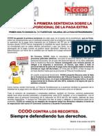 1708988-CCOO Gana La Primera Sentencia Sobre La Parte Proporcional de La Paga Extra