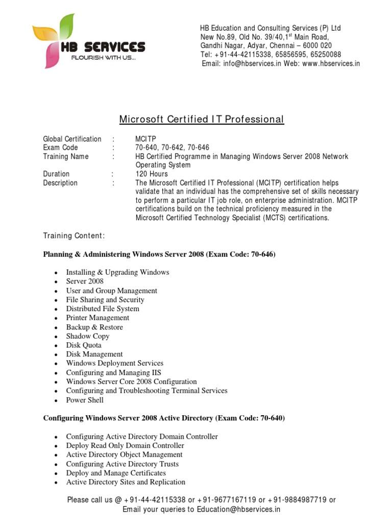 Mcitp hb educational services microsoft certified professional mcitp hb educational services microsoft certified professional windows server 2008 1betcityfo Choice Image