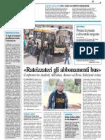 """""""Rateizzateci gli abbonamenti bus"""" - Il Resto del Carlino dell'8ottobre 2013"""
