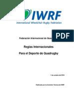 Wheelchair Rugby International Rules 2010 (Spanish)