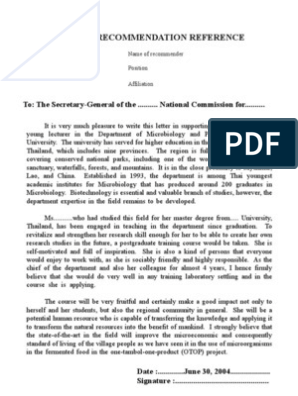 Example Of Recommendation Letter University Microbiology