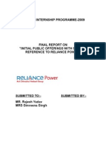 Project Report on Reliance Power Ipo