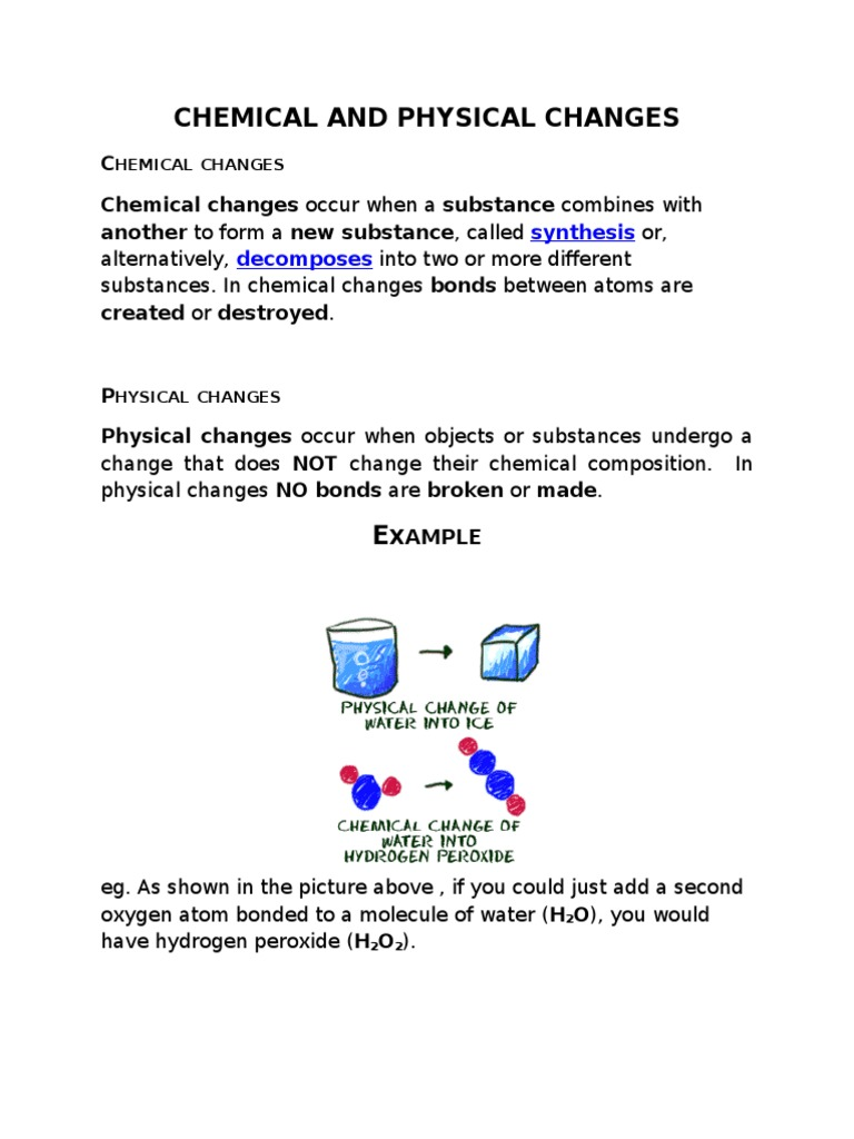 Chemical And Physical Changesc
