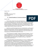 No on Proposition AA Campaign Letter to US Attorney John Walsh