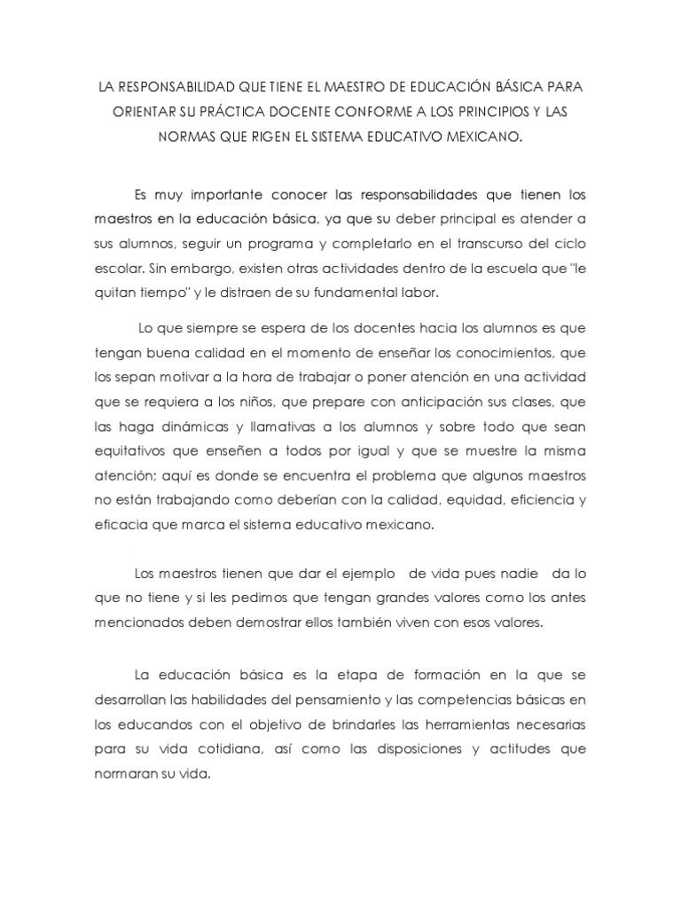 LA RESPONSABILIDAD QUE TIENE EL MAESTRO DE EDUCACIÓN BÁSICA PARA ...