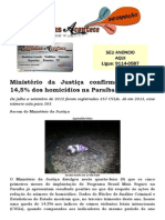 Ministério da Justiça confirma queda de 14,5% dos homicídios na Paraíba