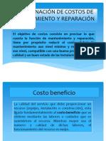 Determinación de costos de mantenimiento y reparación