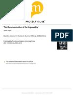 The Communication of the Impossible Joseph Suglia