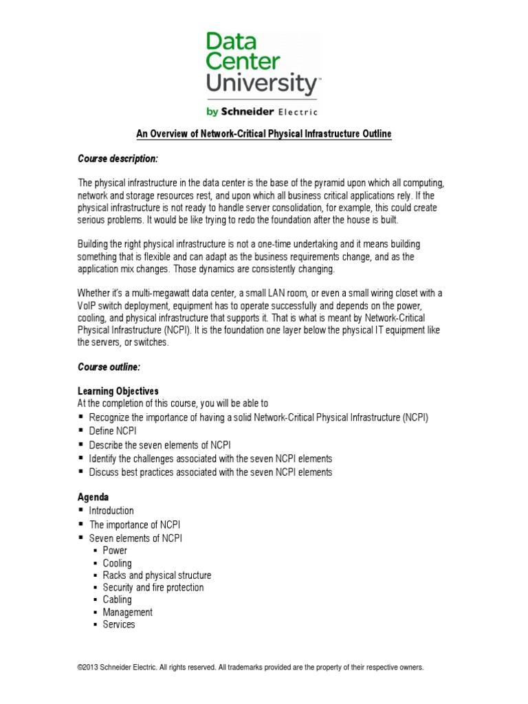 An Overview Of Network Critical Physical Infrastructure Outline Wiring Closet Equipment Data Center Technology