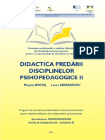 Psihopedagogie 3 Didactica Predarii Disciplinelor Psihopeda II Opti