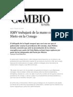 15-08-2013 Diario Matutino Cambio de Puebla - RMV trabajará de la mano con Peña Nieto en la Conago