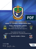 "2013 Action Video Productions Junior ""A"" Football Cship Final programme"