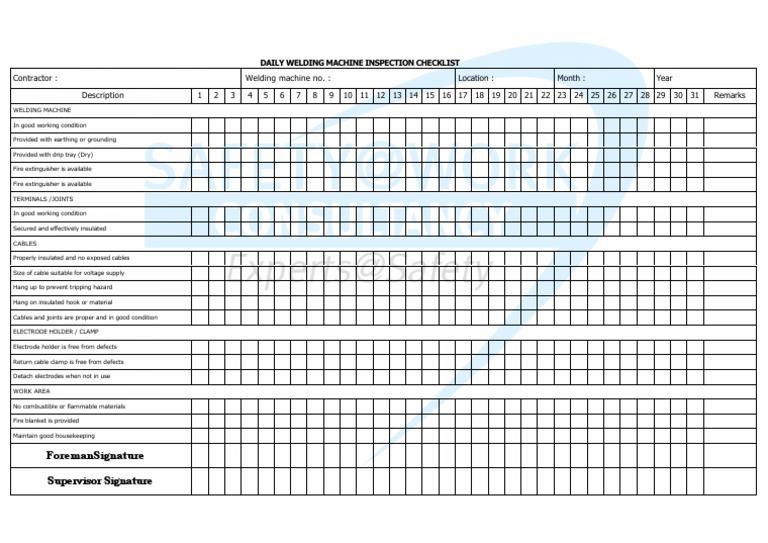 Daily Welding Machine Inspection Checklist Welding Construction