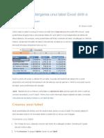 Crearea sau ștergerea unui tabel Excel dintr